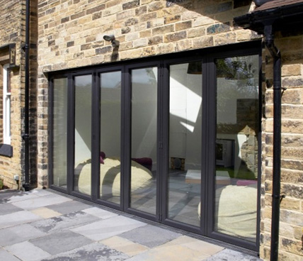 black Bi-Folding door side view