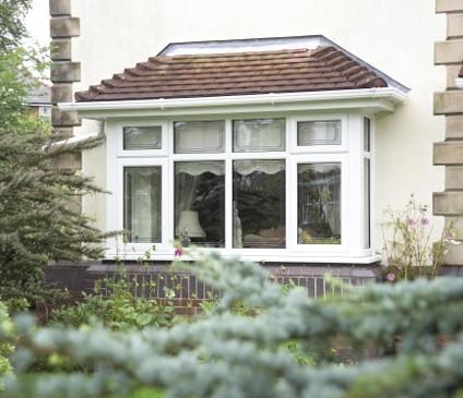 Bow Window across garden