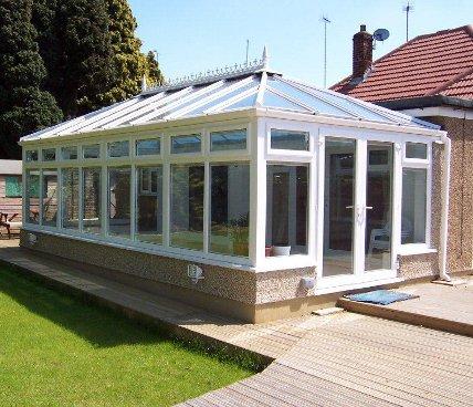 Edwardian Conservatory corner view across garden