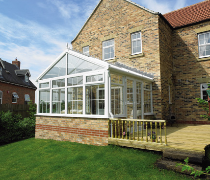 Gable Conservatory with decking low angle view