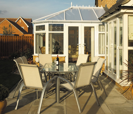 Victorian Conservatory with patio and outside table